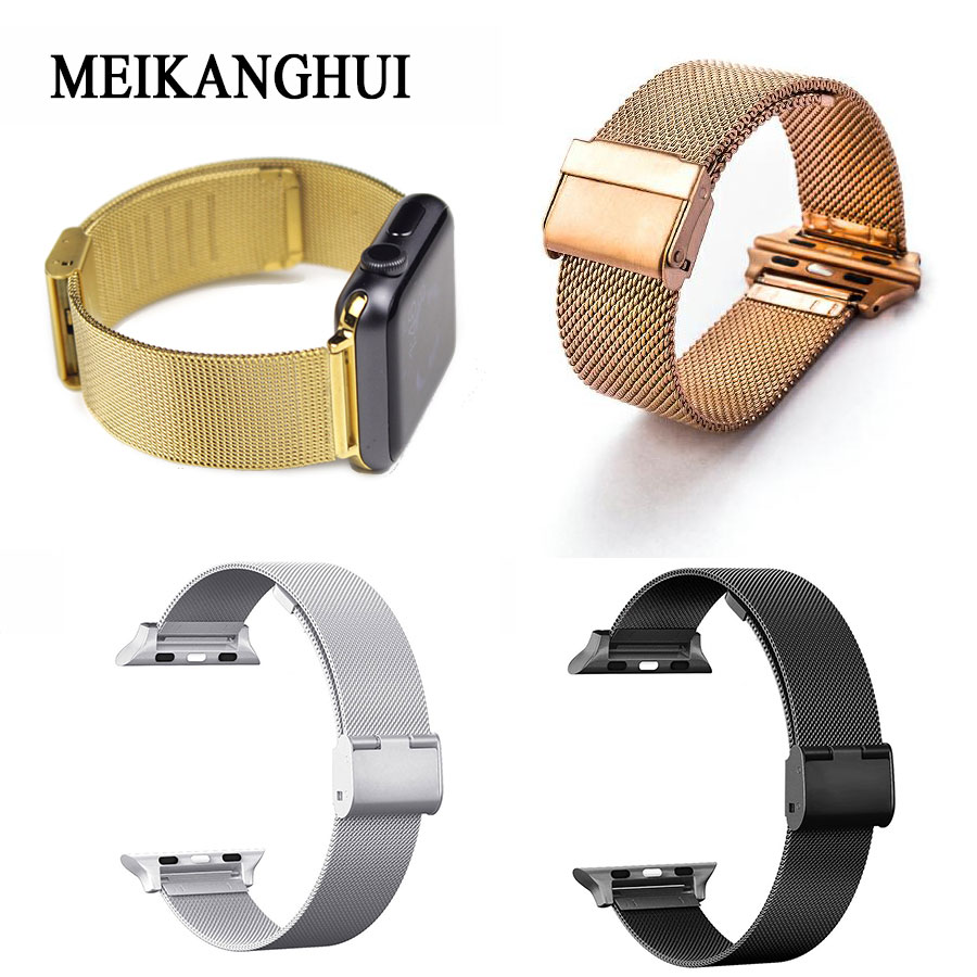 For Apple Watch Mesh Milanese Magnetic Loop Stainless Steel Bracelet Strap Replacement Band Wristband for Apple Watch Series 3/2 стоимость