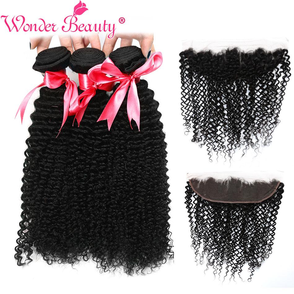 Wonder Beauty Afro Kinky Curly Hair 3Bundles With Frontal Human Hair Extension Brazilian Hair Weave Bundles