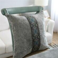 Мягкие бархатные Декоративные Чехлы для подушек, серые, синие, 45*45 см, домашний декор, подушки для дивана, европейская роскошная вышитая наволочка