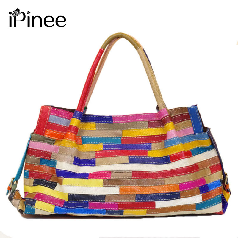 iPinee Leisure All-match Striped Patchwork Women Bags Genuine Leather Large Capacity Women Handbag Cowhide Bag 我的第一本数学童话·数的基础·10以内数字的拆分与组合:去送圣诞礼物喽(适读3 6岁)