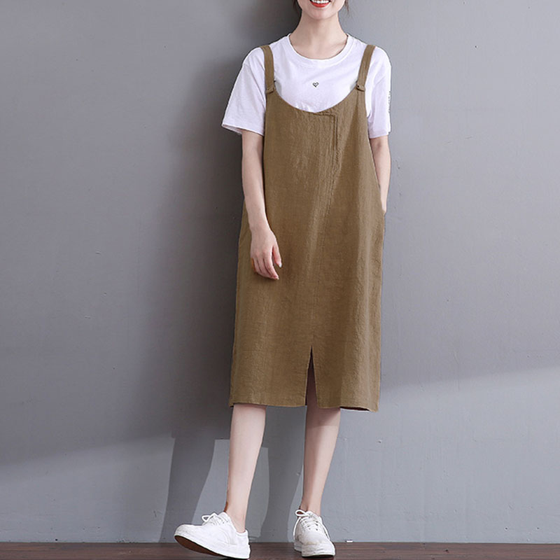 ZANZEA 2018 Summer Dungarees Dress Women Casual Vintage Solid Sleeveless Cotton Linen Work Office Midi Vestido Plus Size S 5XL