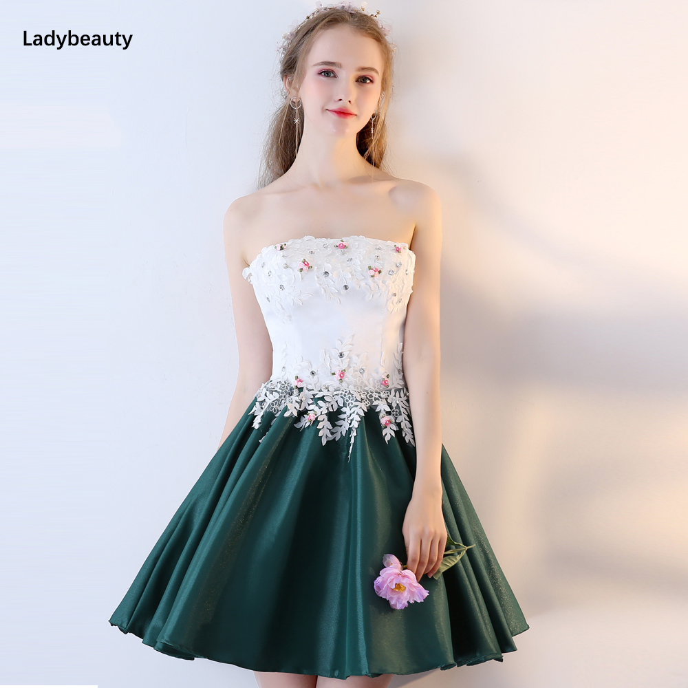 2018 Short   Prom     Dresses   Original Real Photo Vestido A-line Sleeveless Lace Applique Beading Banquet Party Gown Evening   Dress