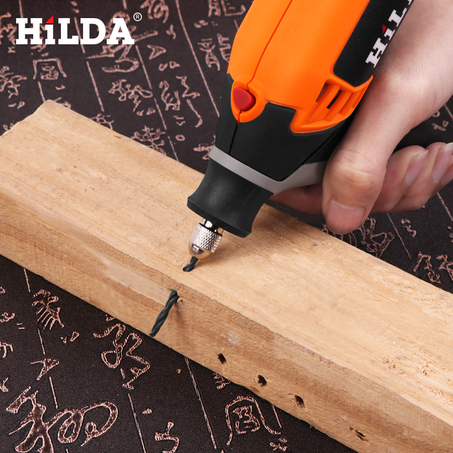 HILDA Electric Power Drill with 6 Variable Speeds and Precision Spiral Chuck for Wood Drilling 12