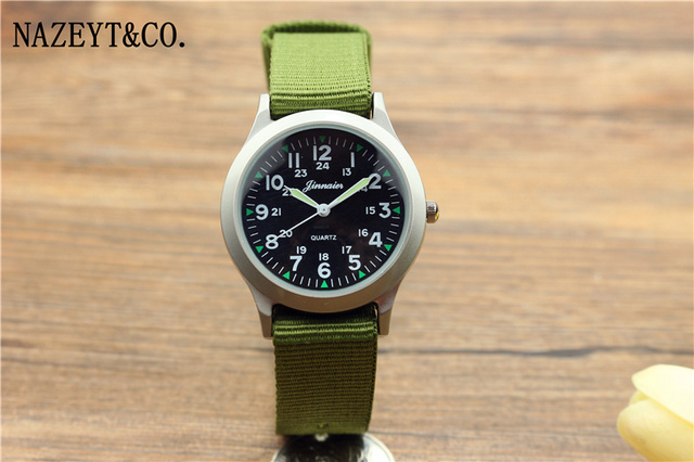2018 new arrived student best gift 24 hours design army watch boys and girls luminous hands outdoor sports nylon quartz clock