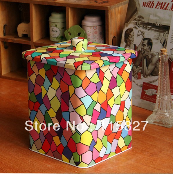 Free Shipping Square Shape Iron Case Candy Design Tin Box