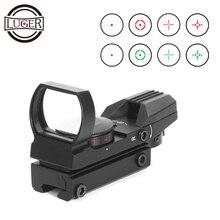 לוגר אדום Dot Sight הולוגרפי ציד Riflescope רפלקס 4 Reticle טקטי אופטיקה היקף מתאים 11mm 20mm רכבת אוויר אקדח