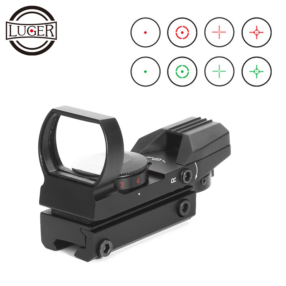LUGER Red Dot Sight Holographic Hunting Riflescope Reflex 4 Reticle Tactical Optics Scope Fits 11mm 20mm Rail For Air Gun