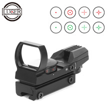 LUGER Red Dot Sight Holographic Hunting Riflescope Reflex 4 Reticle Tactical Optics Scope Fits 11mm 20mm Rail For Air Gun цены онлайн