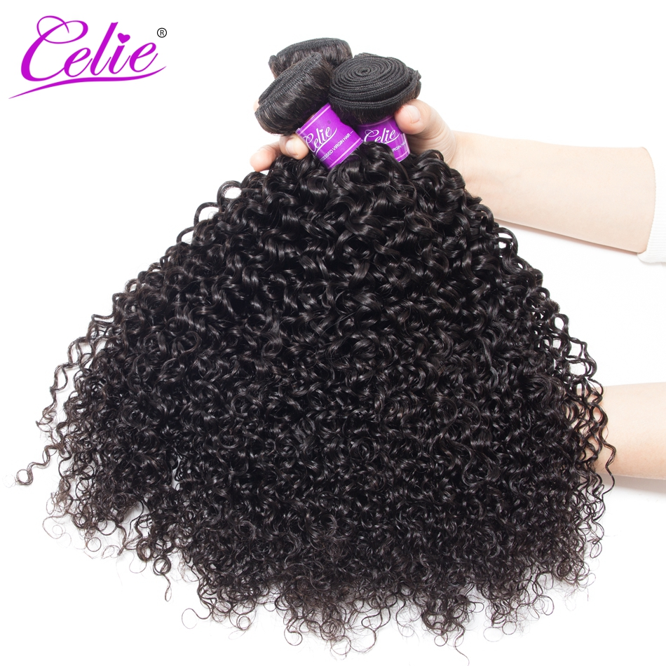 Celie Brazilian Curly Hair 3 Bundles 100g Piece Remy Human Hair Extension Natural Black Color Brazilian