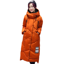Autumn and winter new long down jacket women Fashion high-end thick warm Large size stand collar hooded cotton jacket