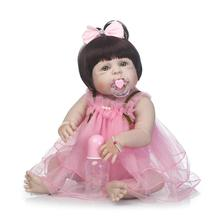 23″Full Silicone Bebe Reborn Baby Girl Princess Dolls Lifelike Alive Doll With Pink Dress for Child Bath Shower Bedtime Toy