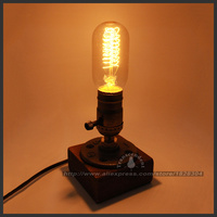 Personalized Water Pipe Lamp Retro Coffee Shop Table Lamp Wood Loft Vintage Desk Lamp Edison