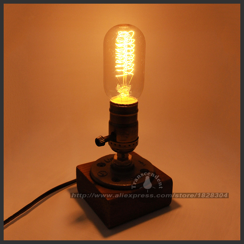 Retro Coffee Shop Bordlampe Wood Vintage Bordslampe Dimmable 40W Edison Bulb 220V Soveværelse Bar Tabel Light Skrivebord Lys Træ