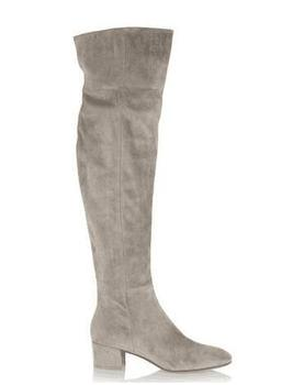 Newest Grey Suede Leather Round Toe Flat Over The Knee Boots High Quality Women Flat Winter Long Boot Size 42 botas mujer