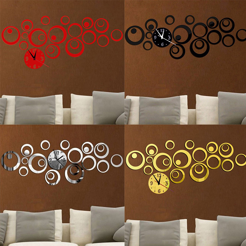 new circle 3d diy wall clock modern design acrylic mirror wall decal art stickers for home office decoration design home