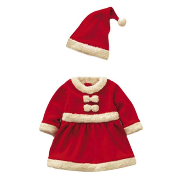 купить Baby Girls Dress Toddler Christmas Dress Outfit Party Clothes Bowknot Dress With Hat недорого