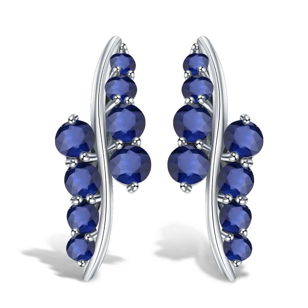 GEM'S BALLET 3.0Ct Natural Blue Sapphire Gemstone Engagement Stud Earrings for Women 925 Sterling Silver Round Earrings Jewelry