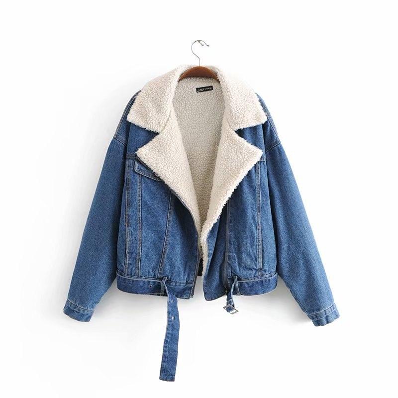 Offre spéciale XY110-8259 veste en denim de laine d'agneau à la mode européenne et américaine