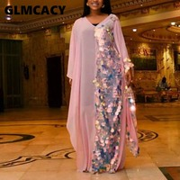 Women Casual Loose Sequined Patchwork Dress Elegant V Neck Formal Party Maxi Vestidos Long Evening Gown Dresses