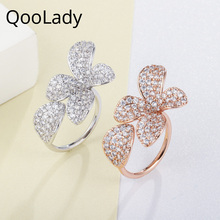 QooLady Trendy Rose Gold Flower Open Cut Adjustable Women Rings for Engagement Wedding Micro Pave Fashion CZ Stone Jewelry F009