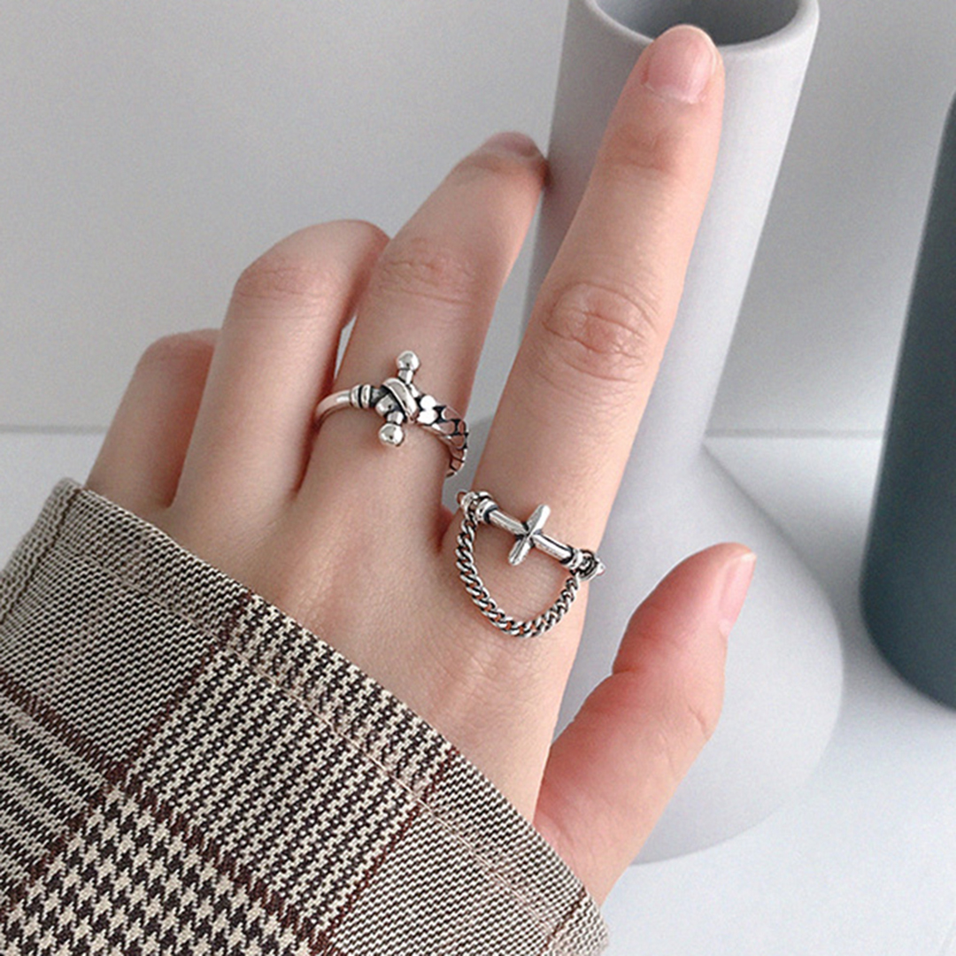 Women Statement Sterling Silver 925 Jewelry Shellhard Punk Retro Cross Cuban Chain Ring Korean Elegant Wedding Band Open Ring