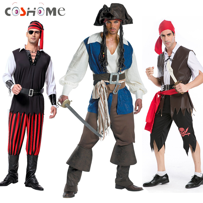 Coshome Halloween Party Pirates of the Caribbean Cosplay Costumes Men Adult Uniforms Clothing Set