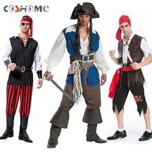 Coshome Halloween Party Pirates of the Caribbean Cosplay Costumes Men Adult Uniforms