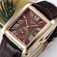 2015 CHENXI Classic Design Rectangular Men Watches Luxury Brand Stylish Leather Watch Women Ladies Dress Wristwatch