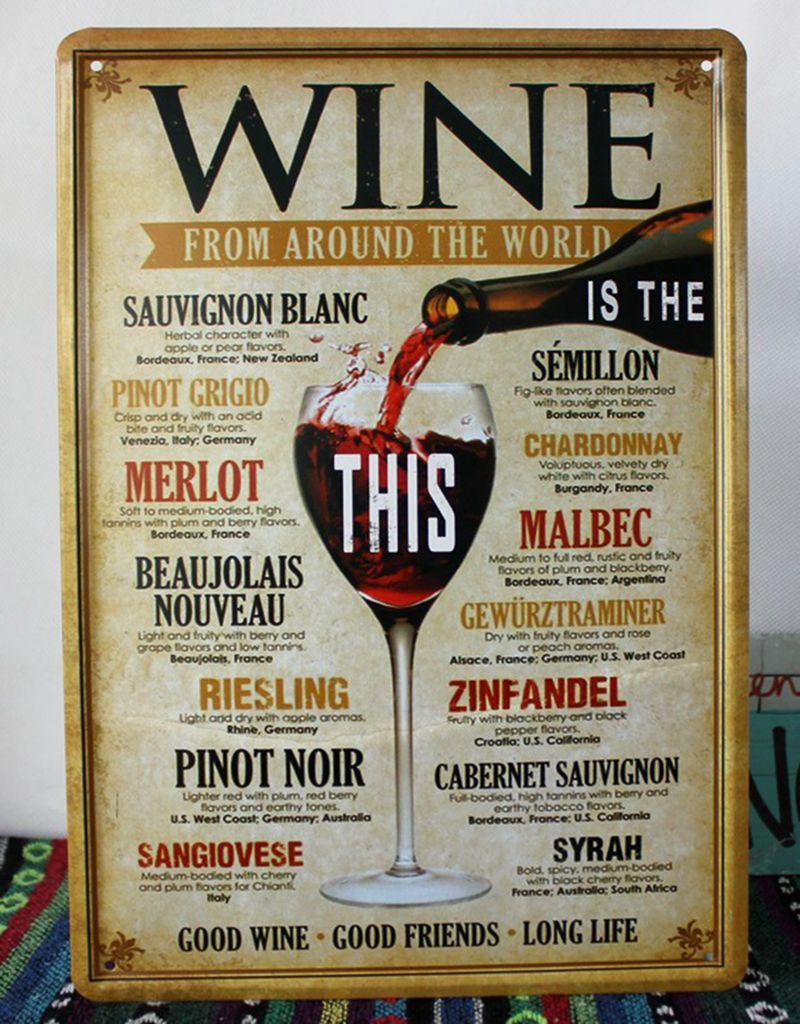 Buy retro metal poster tin sign wine for Decoracion de bares vintage