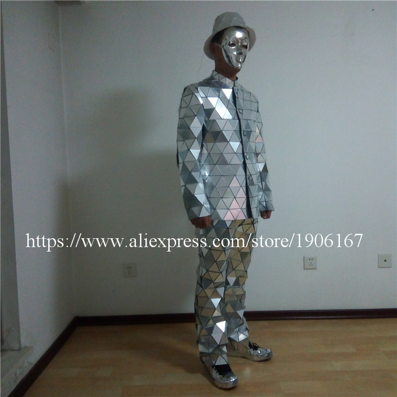 Catwalk Shows Men Silver Color Stage Ballrooom Costume Mirror Man Clothing Party Christmas Performance DJ Singer Clothes Suit04