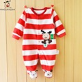 Hot Fashion Autumn Winter kids Footies Newborn Baby Flannel Red Stripes Reindeer Footed Jumpsuit For children Christmas Costume