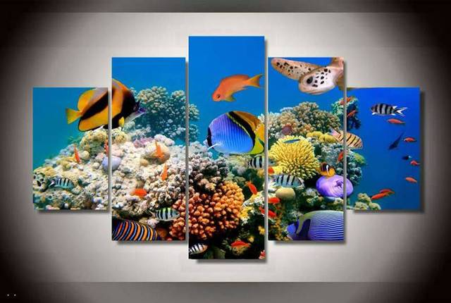 Hd printed marine fish coral color painting on canvas room decoration print poster picture free shipping