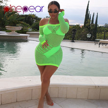 1478c23f770 PinePear Fishnet See Through Long Sleeve Beach Dress Cover Up Swimwear 2019  Women Off Shoulder Swimsuit Beach Wear Dropshipping
