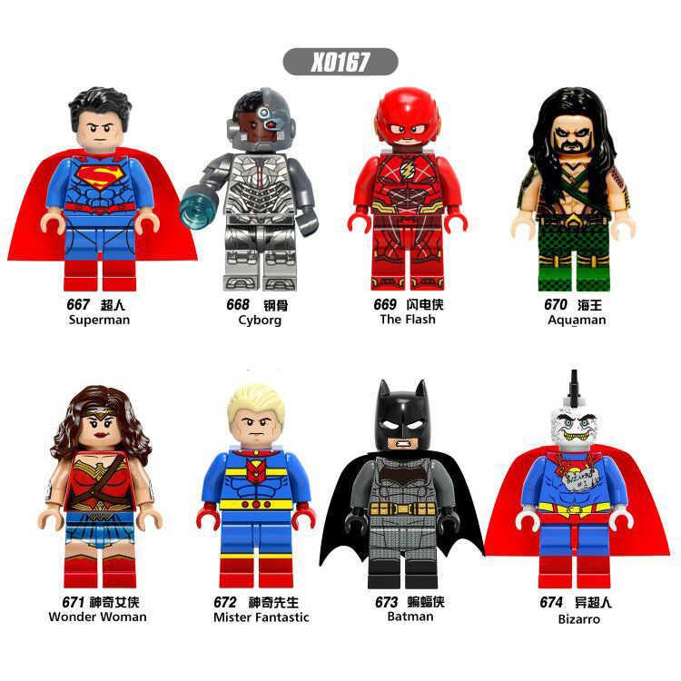 X0167 compatível LegoINGlys Super hero Justice League Superman Batman Mulher Maravilha corset osso de Aço de flash módulo de Construção criança brinquedo y