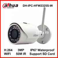Dahua 3MP IP Camera IPC HFW2325S W WIFI Camera 50M Night Vision IP67 Wireless SD Card