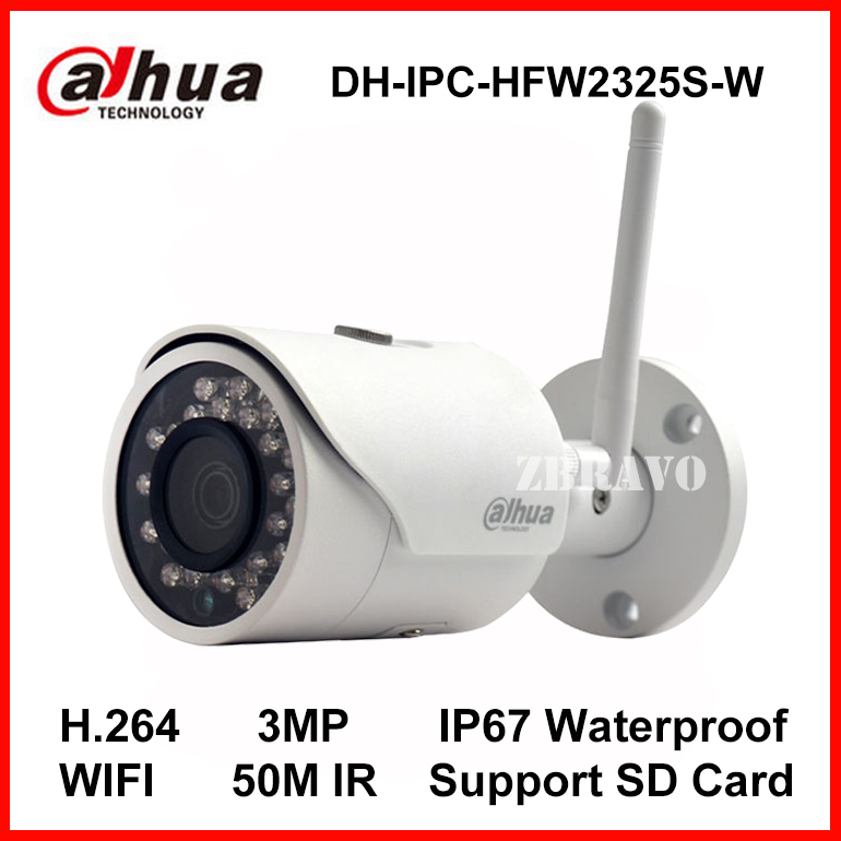 Dahua 3MP IP Camera IPC HFW2325S W WIFI Camera 50M Night Vision IP67 Wireless SD Card