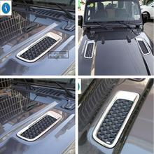 Yimaautotrims Auto Accessory Front Engine Hood Air AC Outlet Vent Frame Cover Trim Bright ABS Fit For Jeep Wrangler JL 2018 2019 yimaautotrims auto accessory center warning lights air conditioning ac outlet vent cover trim 1 pcs abs for lexus es 2018 2019