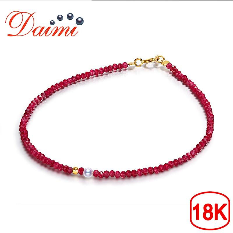 DAIMI Exquisite Female Ruby Bracelet 2 3mm Akoya Pearl 18K Gold Bracelet Jewelry Gift For W