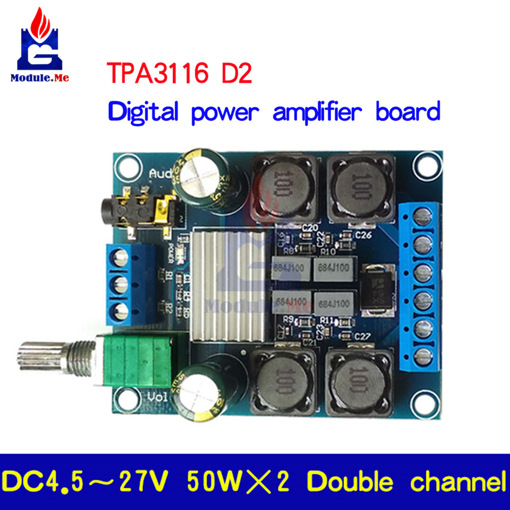 50Wx2 TPA3116 D2 Dual 2 Channel DC 4.5-27V Digital Power Amplifier Board Two Channel Stereo High Efficiency Reverse Protection image