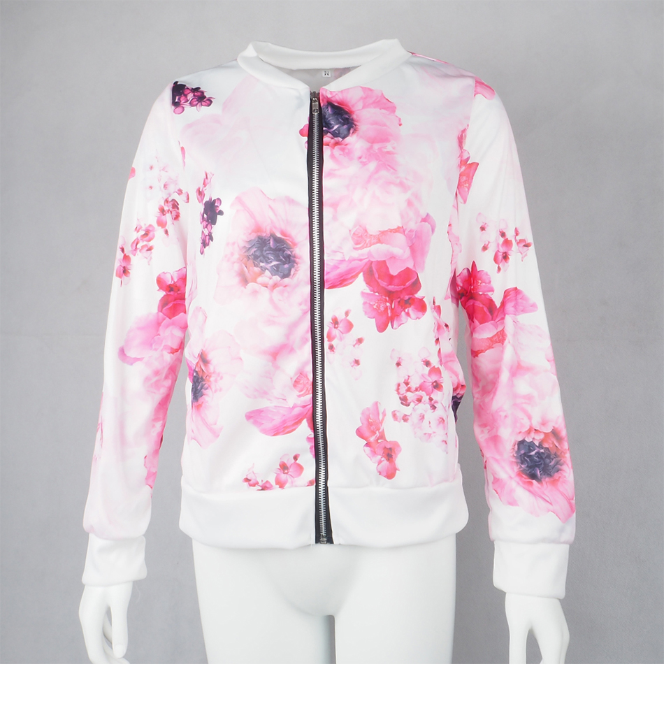Plus Size Printed Bomber Jacket Women Pockets Zipper Long Sleeve Coat Female Flower Chiffon White Jacket Woman Spring 2019