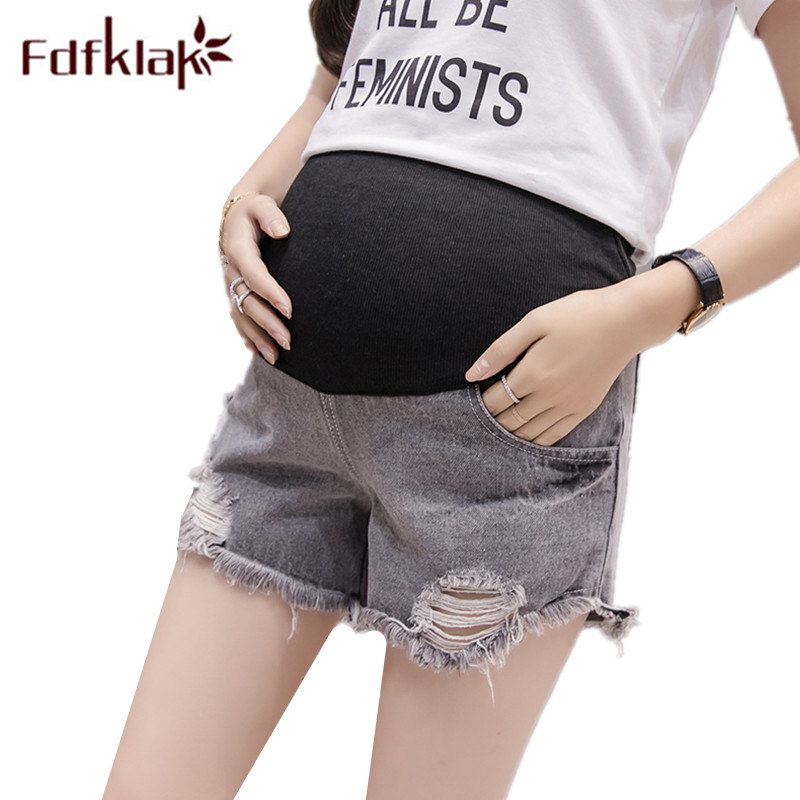 Fdfklak Maternity Jeans Clothes Hole Pregnancy Pants Maternity Clothes Summer High waist Elastic Belly Shorts Pants M-XXL F311 image