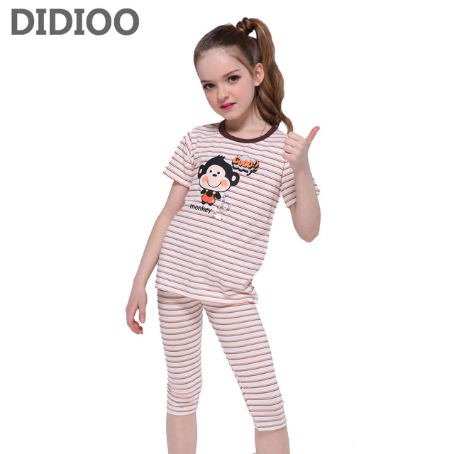dcfa938ff Kids Pajamas Sets For Girls Clothing Sets Striped Cartoon Boys ...