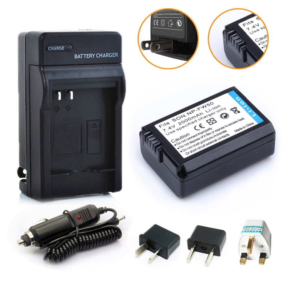HIBTY 1pcs 2000mAh NP-FW50 NP FW50 NPFW50 Camera Battery + Charger + Car Charger Plug For Sony NEX-3 NEX-5C Alpha A55