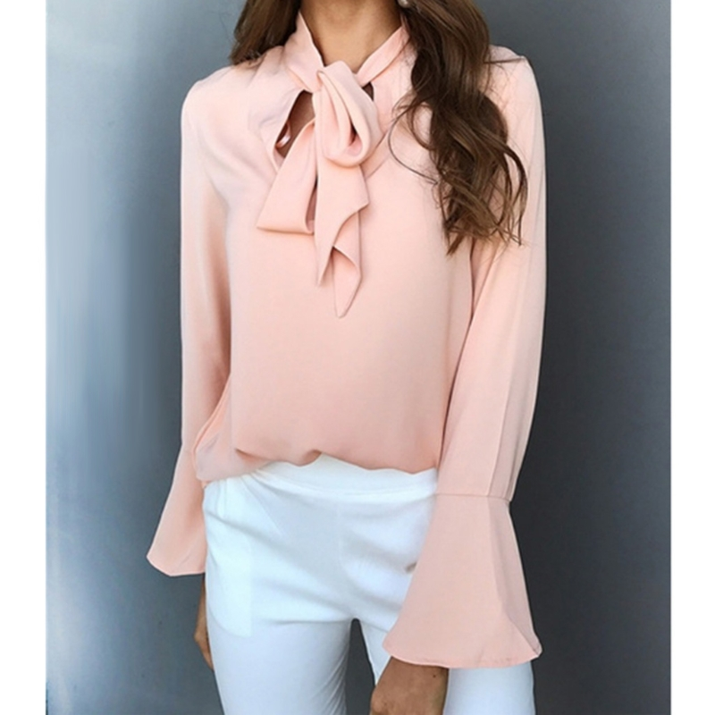 2017 new Women Bowknot Blouse Bow Tie V Neck Long Flare Sleeve Chiffon  Loose Solid Tops loose Blouse
