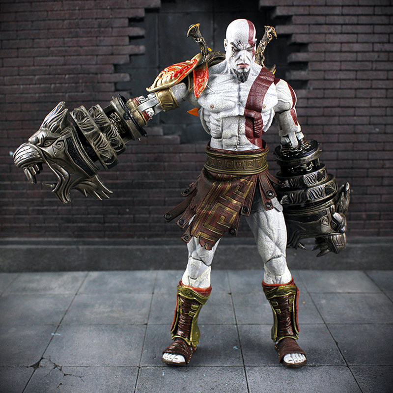 God of War Kratos Spartan Action Figure White Warrior Blade of Chaos Sword Ares Weapon The Ghost of Sparta Game Statuettes Toys