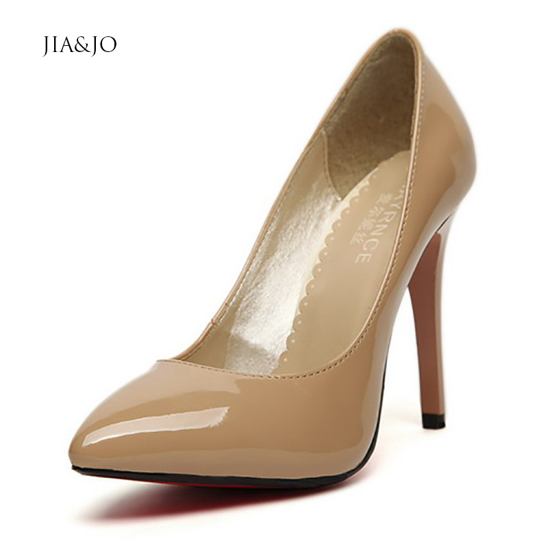 Women Pumps Plus Size 40 41 42 43 44 High Heels Pointed Toe Red Bottom Party Shoes 10cm Stiletto Solid Color A10 - New Fashion store