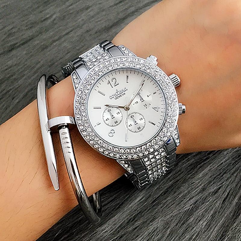 Новые роскошные блестящие Бриллианты Женские часы CONTENA модное платье с кристаллами женские кварцевые часы Стразы Бизнес наручные часы