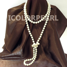 Beautiful 120cm Long 9mm Round White Real Natural Freshwater Pearl Sweater Necklace Free Shipping