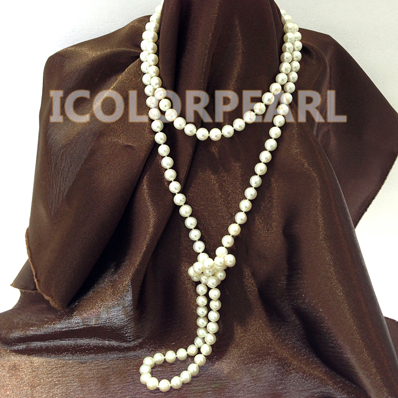 Beautiful 120cm Long 9mm Round White Real Natural Freshwater Pearl font b Sweater b font Necklace