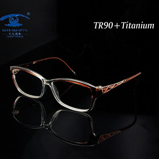 Роскошные женщины очки рамки TR90 памяти титана смешанный мода очки с прозрачными линзами óculos де грау женский